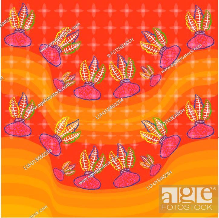 Stock Photo: decorative art, wallpaper, design arts, indoors, background, leaf, pattern.