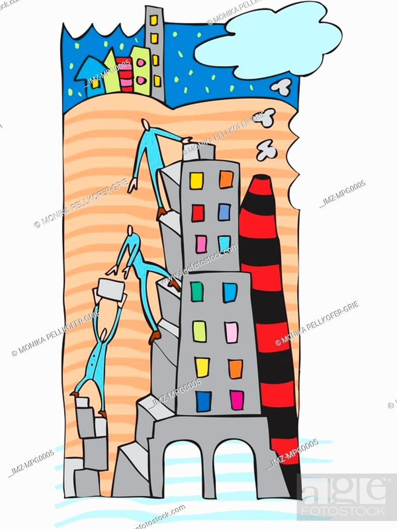 Stock Photo: An illustration of people building a highrise.