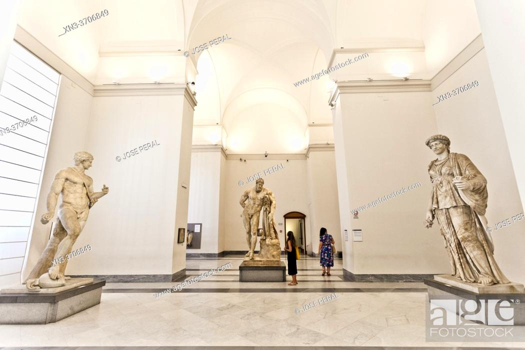 Stock Photo: The Farnese Hercules, c. 216 AD (4th century BC for original) at the background, marble statue, National Archaeological Museum of Naples, MANN, Naples city.