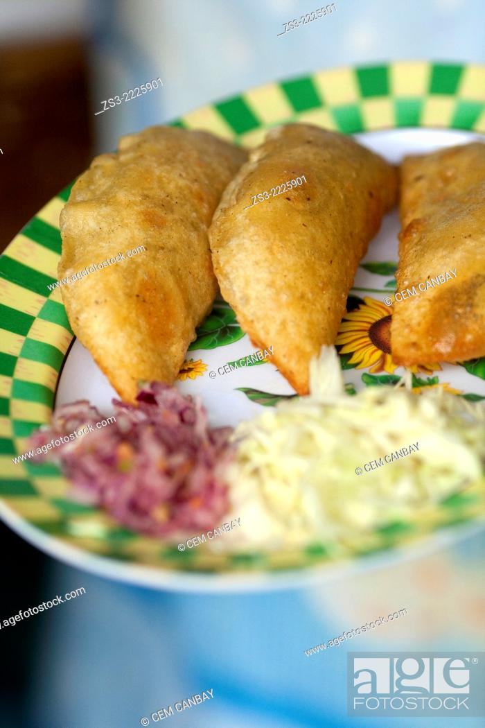 Stock Photo: Pie-empanada ready to serve in a restaurant in Palenque town, Palenque, Chiapas State, Mexico, North America.