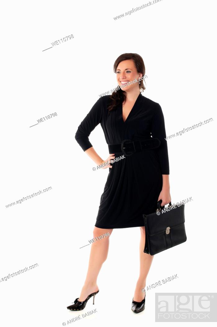 Stock Photo: Attractive businesswoman with briefcase.
