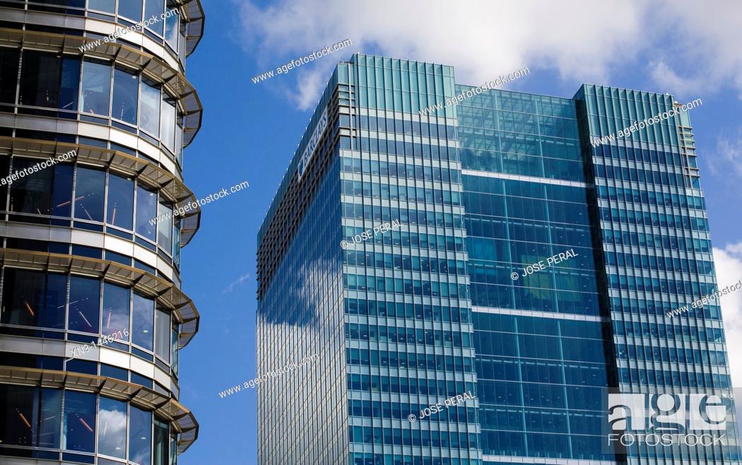 Stock Photo: Barclays Building, Canary Wharf, Docklands, London, England, United Kingdom.