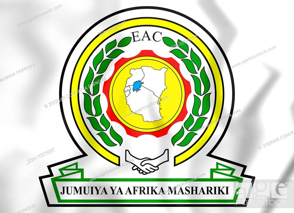 Stock Photo: East African Community coat of arms. 3D Illustration.