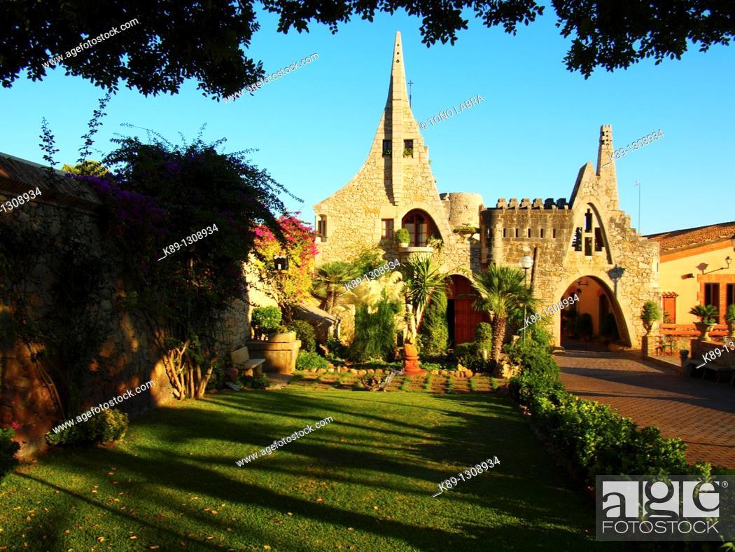 Stock Photo: Celler Güell (Güell Winery) by Antoni Gaudí. Garraf, Barcelona province, Catalonia, Spain.