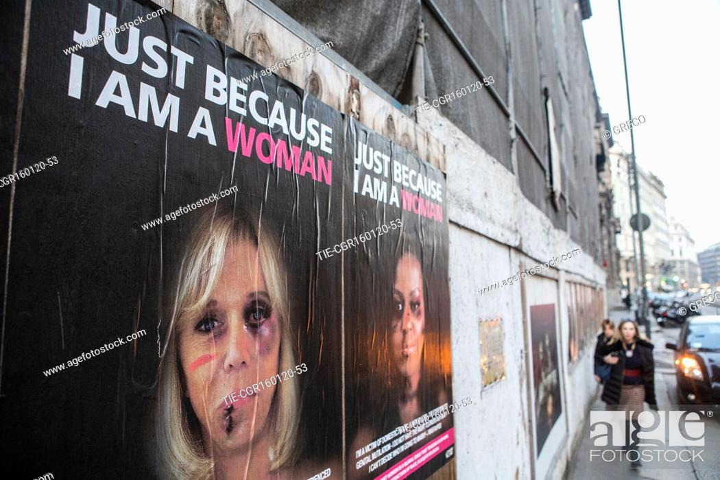 Stock Photo: Just Because I Am A Woman: portraits of some of the world's leading women appear in the provocative posters against gender violence.