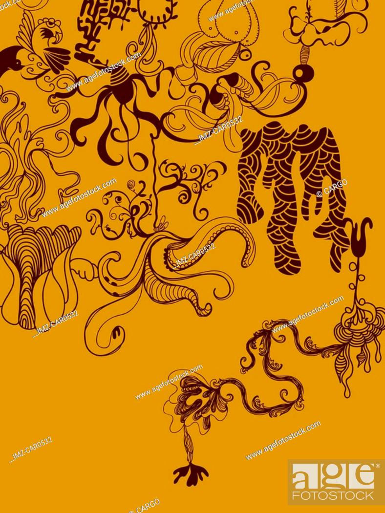 Stock Photo: An orange and brown whimsical illustration background.