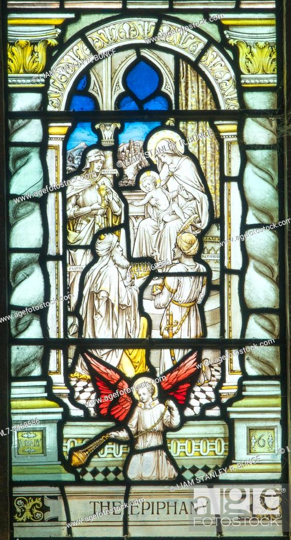 Stock Photo: Stained glass depicting The Epiphany (Baptism of Jesus). Chester Cathedral Cheshire UK. May 2019.