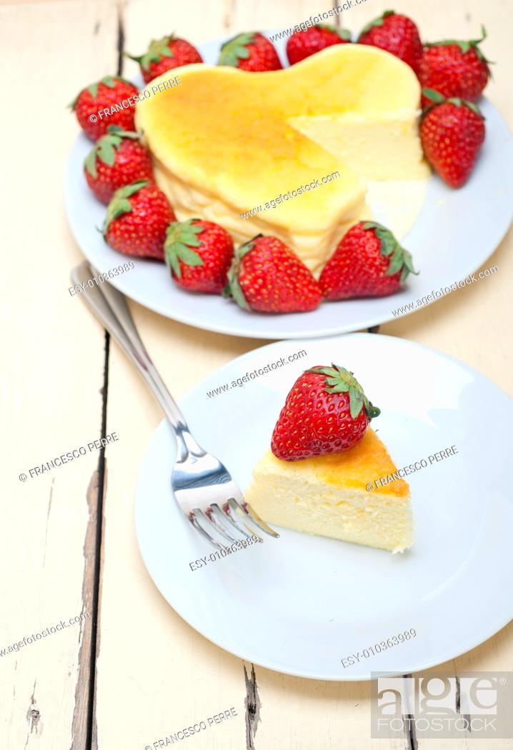Stock Photo: heart shaped cheesecake with strawberryes ideal cake for valentine day.