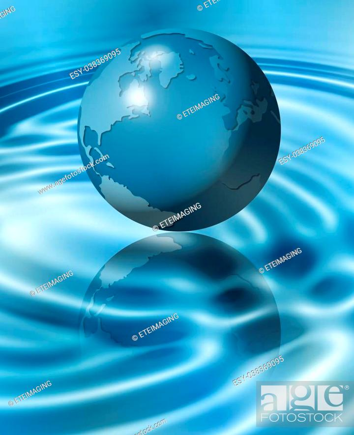 Stock Photo: An illustration of Earth flying above water and making ripples on the surface.
