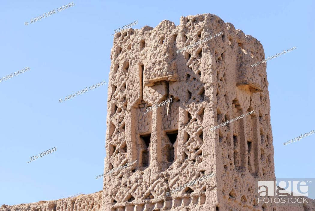 Stock Photo: old tower of a kasbah, Palmeraie de Skoura, Skoura, Morocco, Africa.