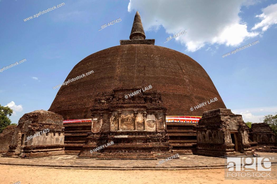 Stock Photo: Stupa, dagoba, Rankot Vihara, Sacred City, Polonnaruwa, North Central Province, Sri Lanka.