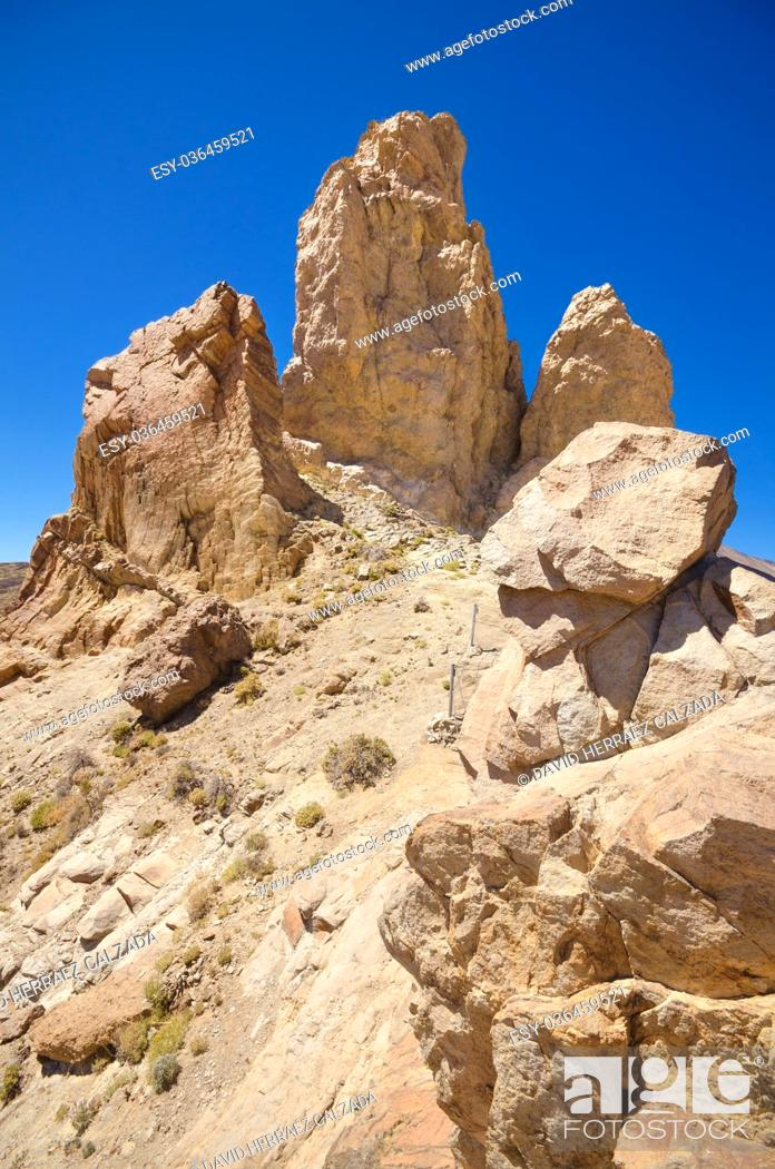 Stock Photo: famous volcanic landscape in Teide National Park, Tenerife, Canary islands, Spain.