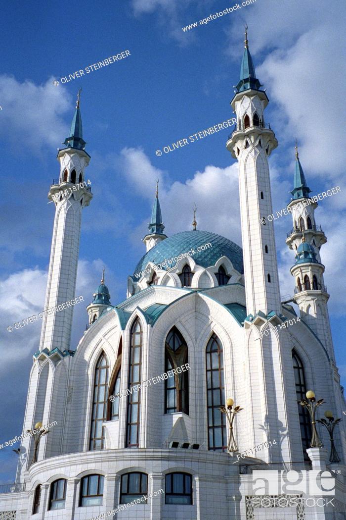 Stock Photo: Facade of Qolsharif Mosque against cloudy sky in Kazan Kremlin, Russia.
