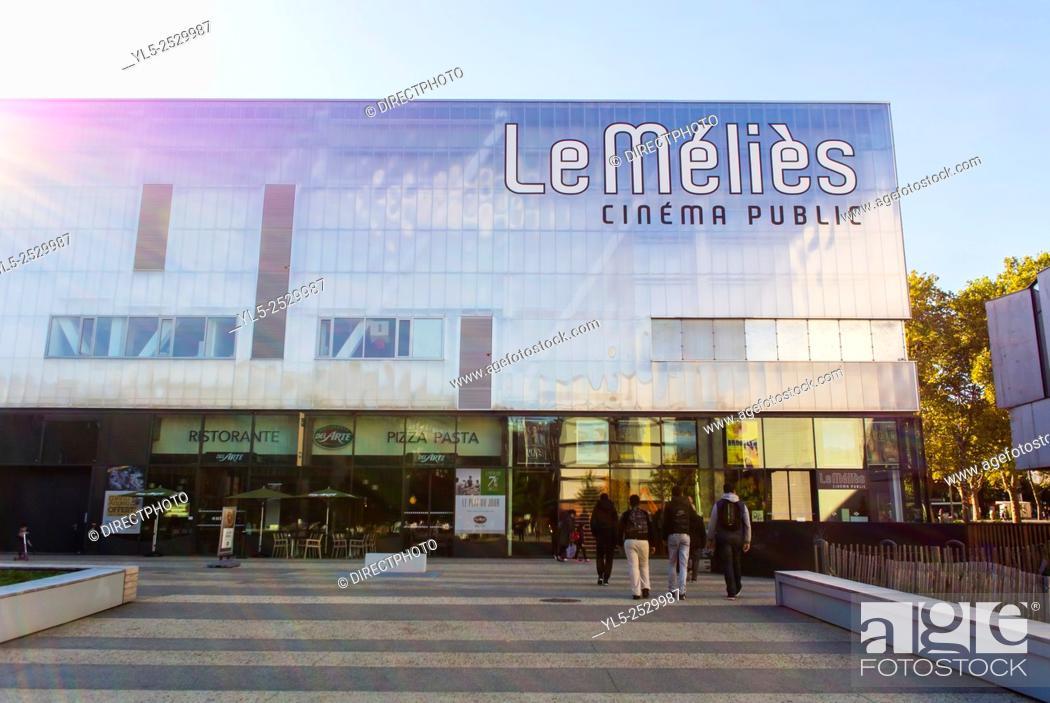 Imagen: Montreuil, France, Paris Suburbs Urban Renewal Street Scenes. Le Méliès Cinema Building.