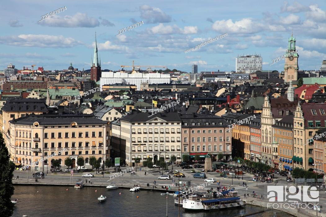 Stock Photo: From the Sodermalm district, view of Gamla Stan in Stockholm, Sweden.
