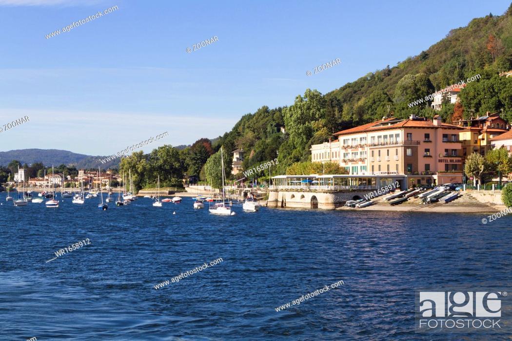 Stock Photo: hotel Milano at Lake Maggiore.