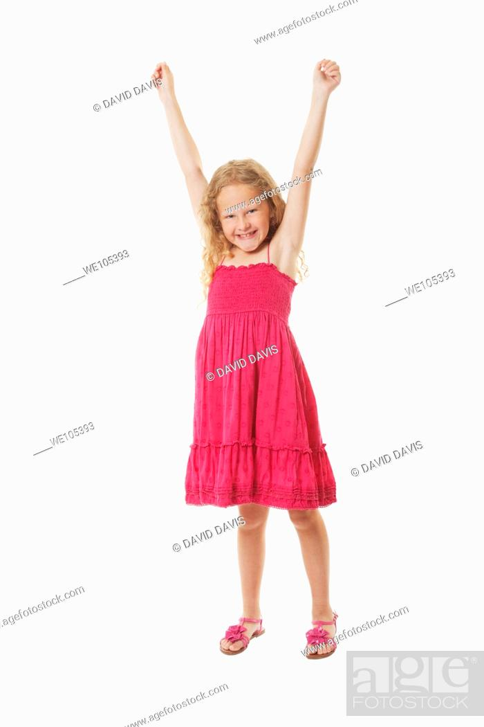 Stock Photo: A beautiful excited Caucasian girl on a white background.