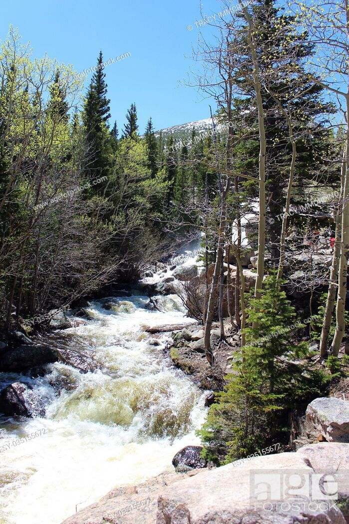 Stock Photo: The rushing water of Alberta Falls on the Glacier Gorge Trail in Rocky Mountain National Park, Colorado, USA.