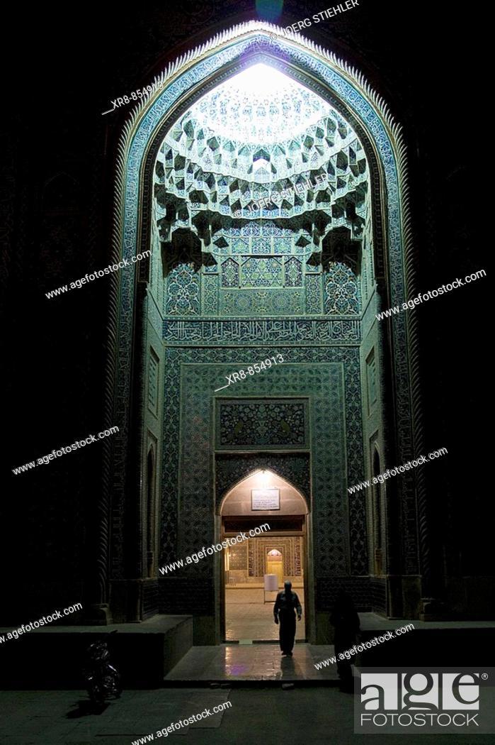 Stock Photo: Iran Kerman Friday Mosque Main Entrance.