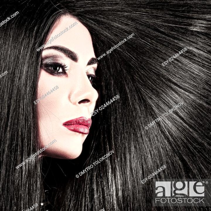 Stock Photo: Hair. Beauty female portrait health care concept.