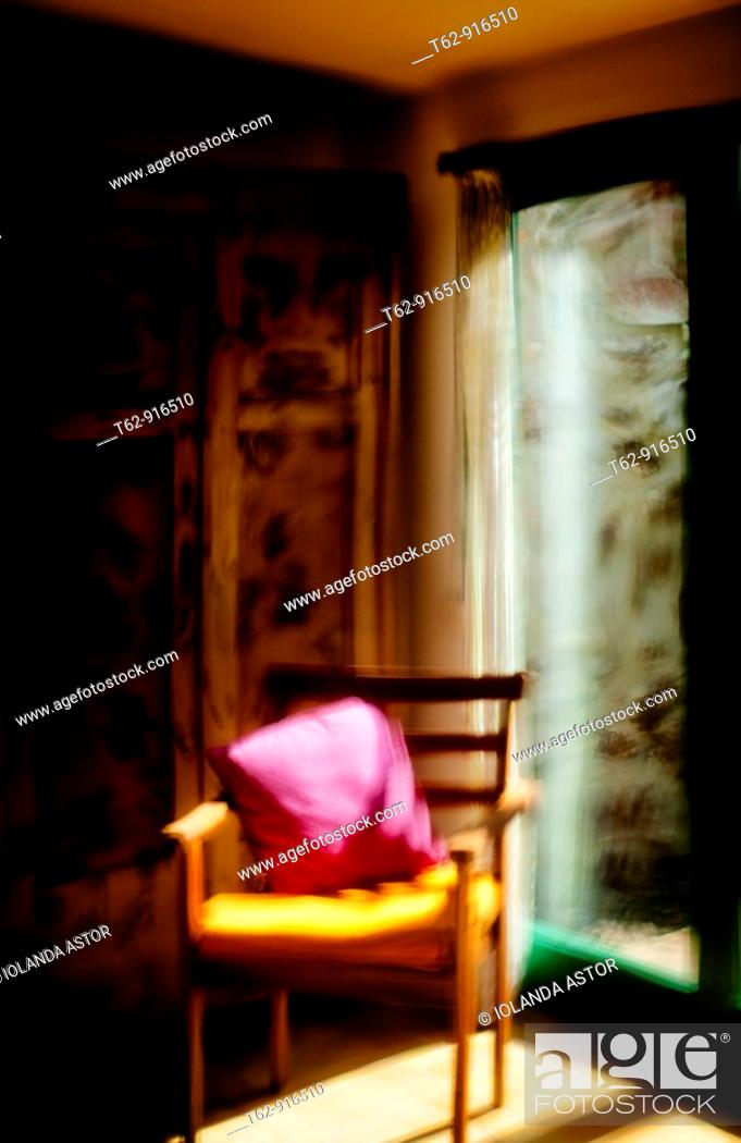 Stock Photo: Distortion of reality in the mirror  A corner of the room  Conceptual.