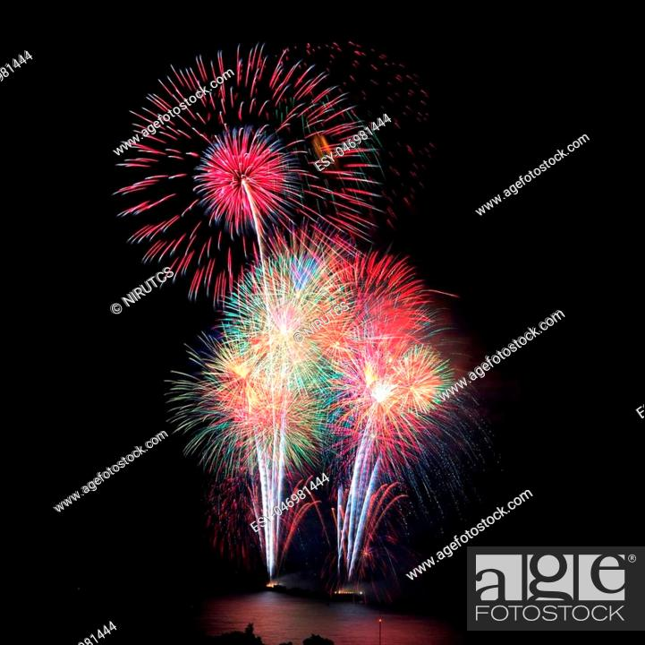 Stock Photo: Firework celebration at the beach, Hua Hin, Thailand.