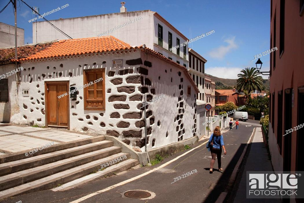 Stock Photo: Traditional Canarian house, San Cristobal de la Laguna, Tenerife, Canary Islands, Spain, Europe.