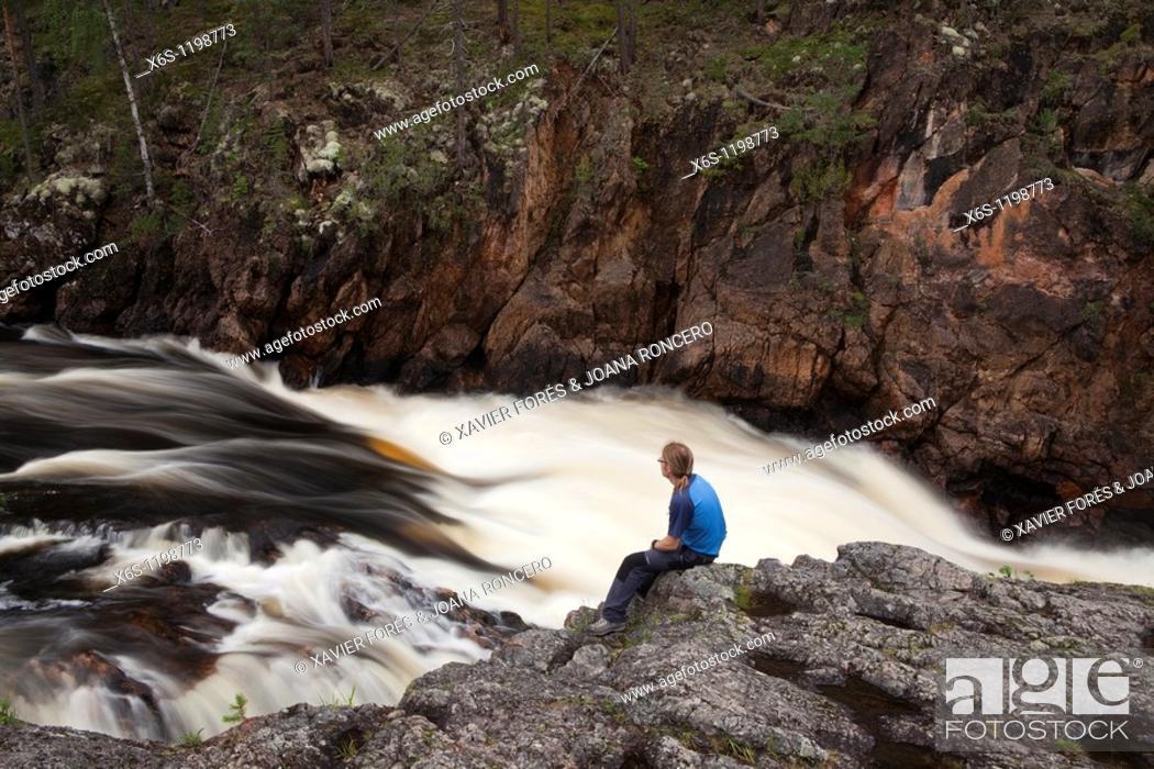 Stock Photo: Kiutaköngäs rapids, Oulankajoki river, Kiutaköngäs day trail, National Park of Oulanka, Kuusamo, Finland.