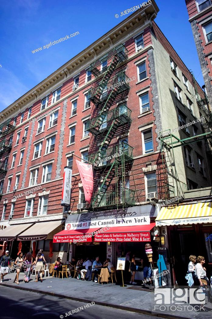 Stock Photo: Shops and Restaurants in Little Italy, New York, USA,.