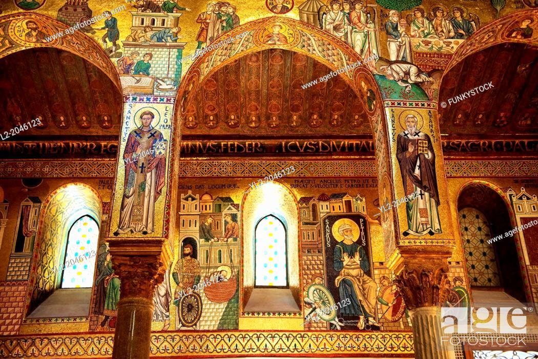 Stock Photo: Byzantine mosaics at the Palatine Chapel ( Capella Palatina ) Norman Palace Palermo, Sicily, Italy.