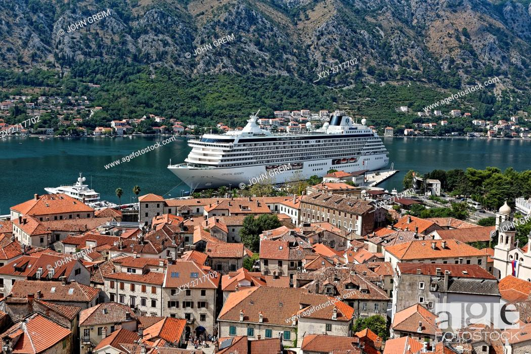 Stock Photo: View of cruise ship docked in old town Kotor, a world heritage site, Montenegro.