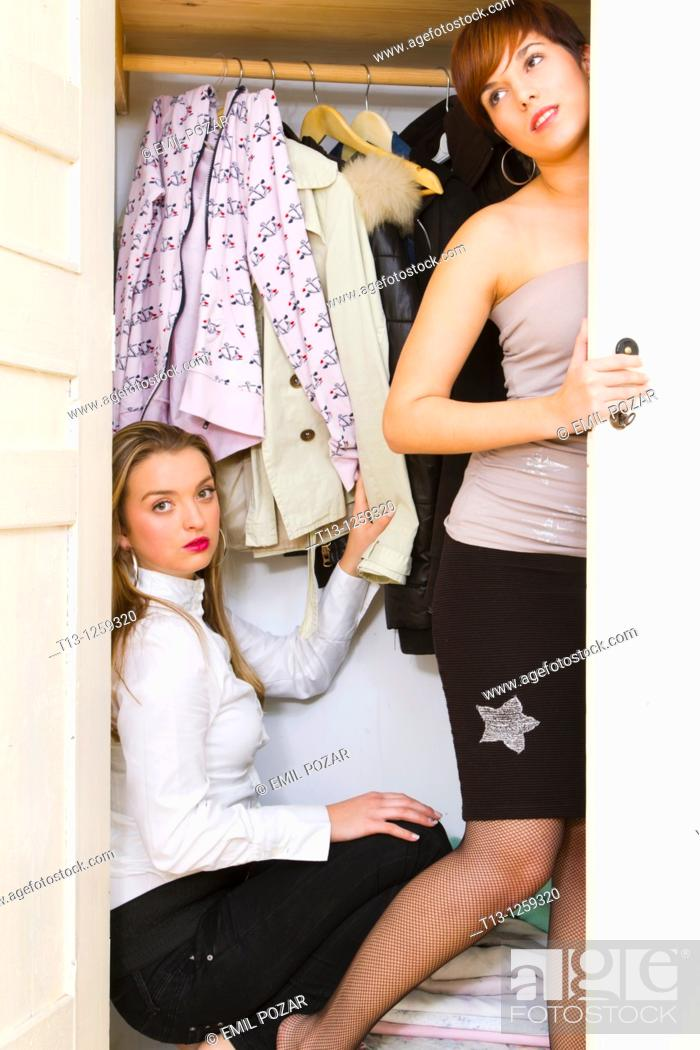 Stock Photo: Two young women in a drawer.