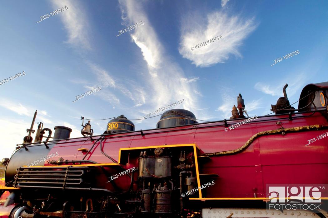Stock Photo: Side view of a Steam Locomotive, Texas State Railroad, 1881, Rusk, Texas.