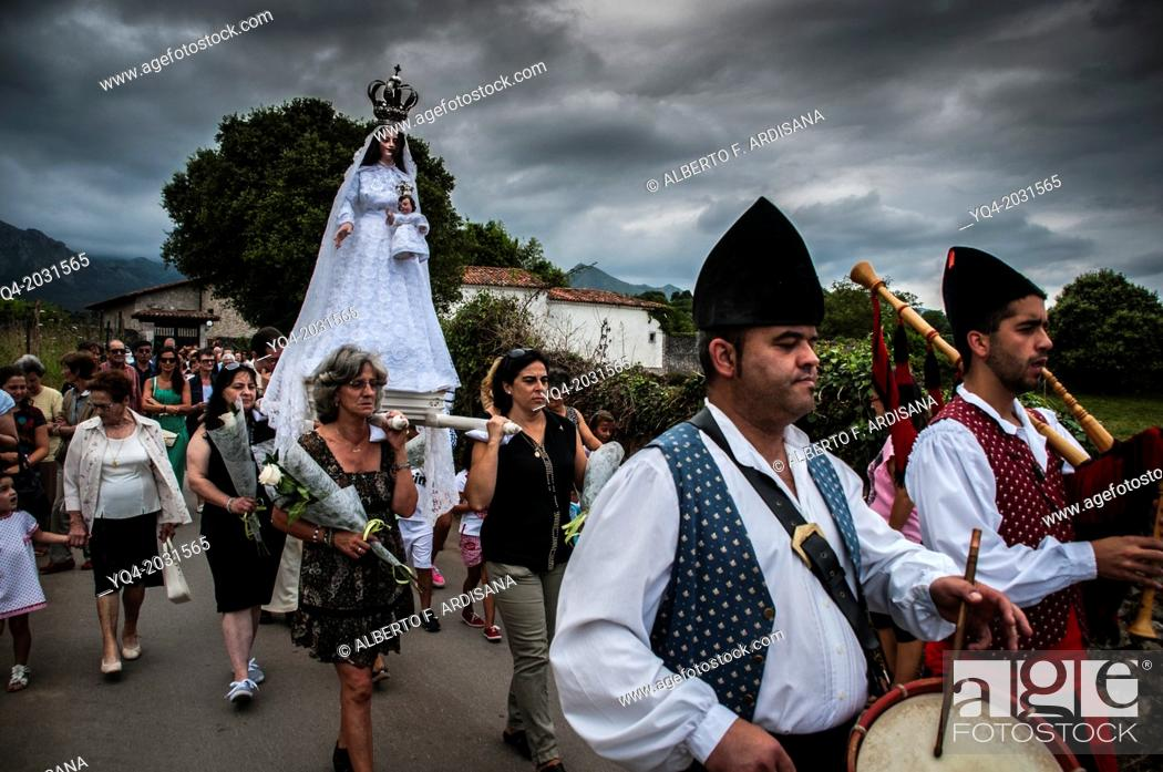 Stock Photo: Procession of the Virgin of the snow. Llanes. Asturias. Spain.