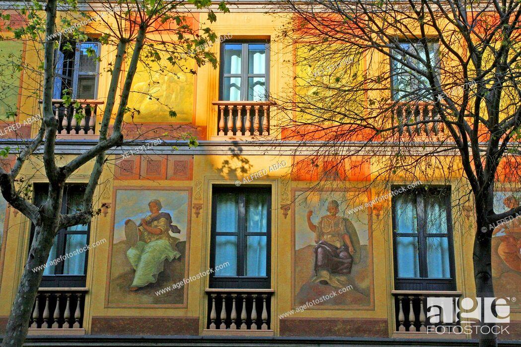 Stock Photo: Venetian murals restored, Casas Cerdà, 1863, architect Antoni Valls i Galí, Eixample district, Barcelona, Catalonia, Spain.