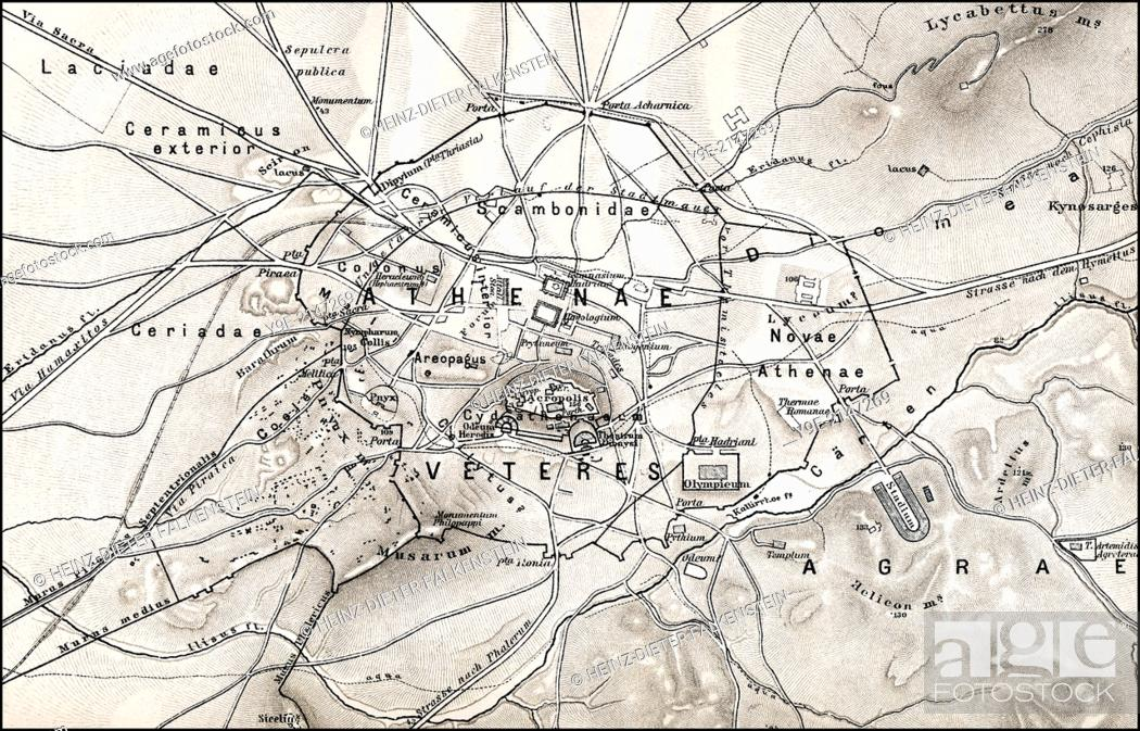 Historical Map Of Ancient Athens Greece Europe Stock Photo