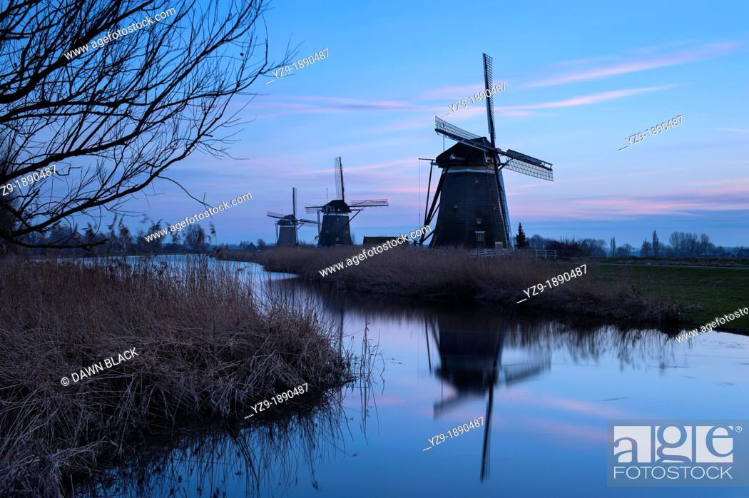 Stock Photo: Dusk at the Drie Molen, Leidschendam, Zuid-Holland, The Netherlands.