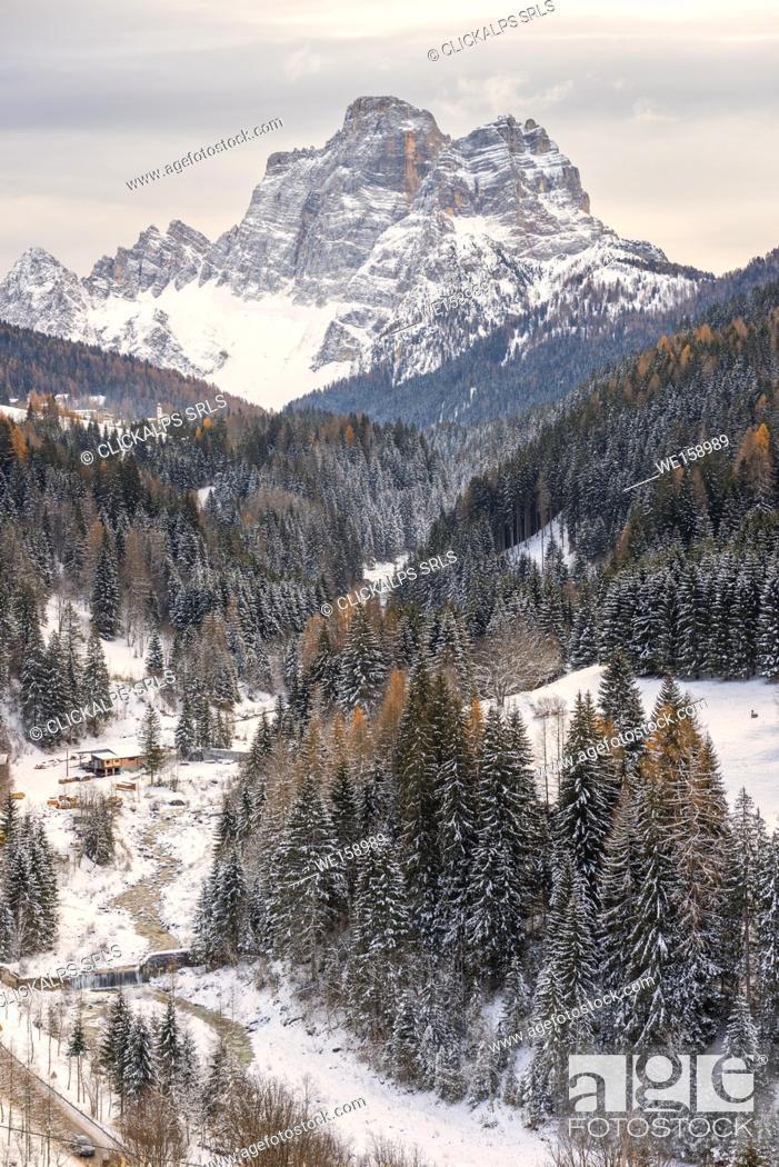 Stock Photo: Pelmo mountain at winter.