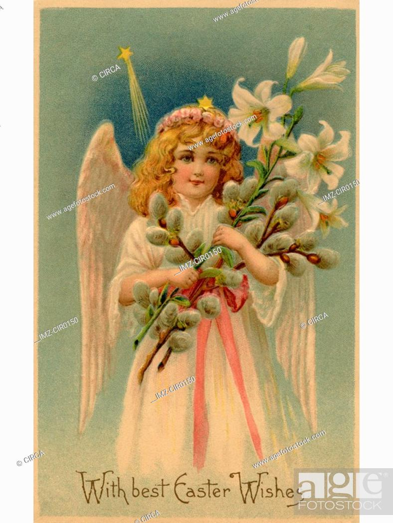 Stock Photo: A vintage Easter postcard of an angel holding lilies.