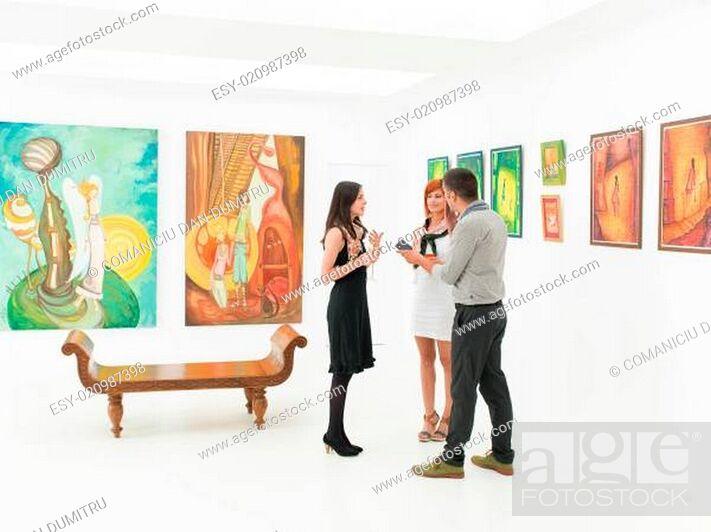 Stock Photo: artist being interviewed.