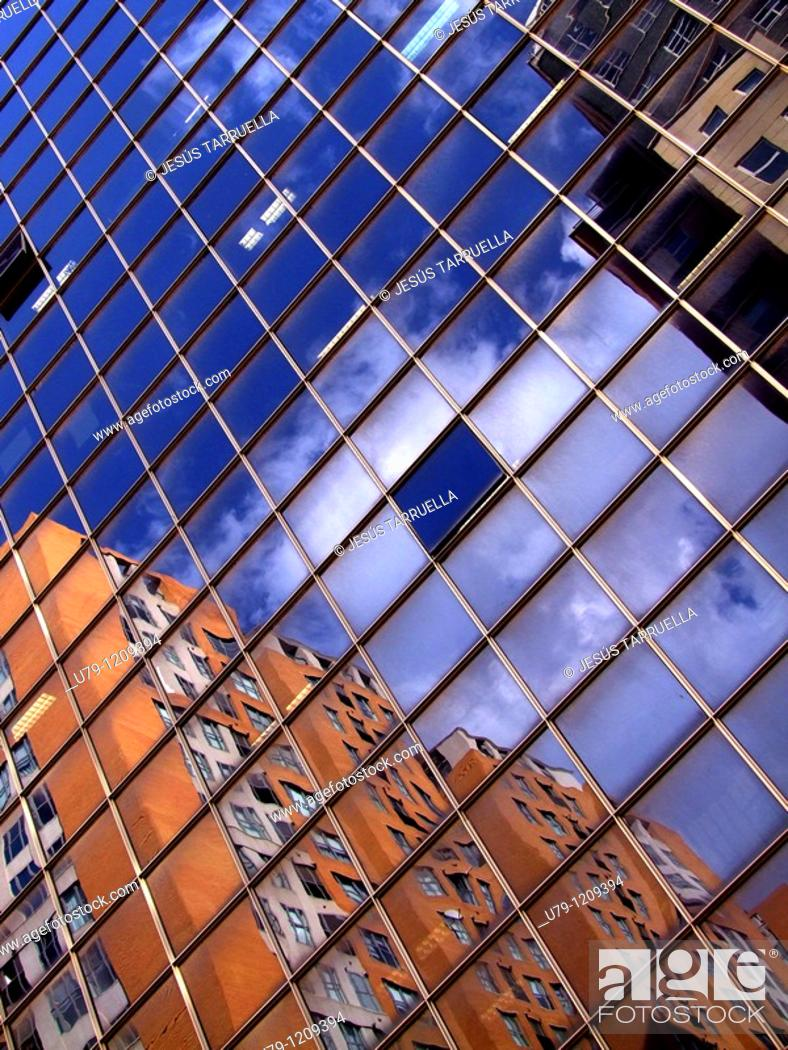 Stock Photo: Urban Landscape  Mirror Image apartments  Valencia  Spain  Europe.