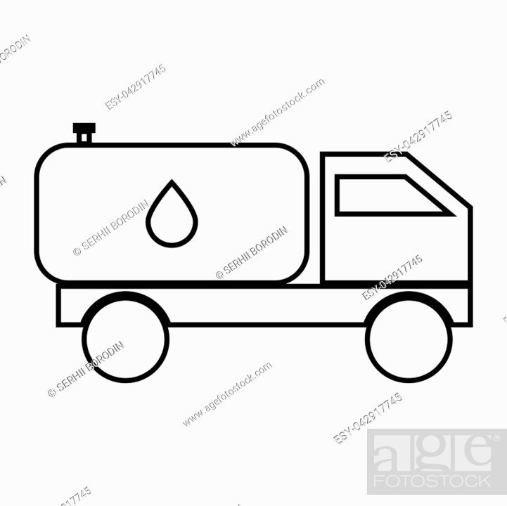 Stock Vector: Cistern truck it is black color icon .
