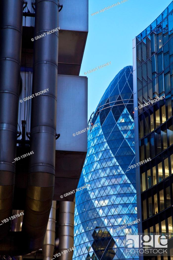 Stock Photo: The Lloyds Building and The Swiss Re building The Gherkin, London, England.