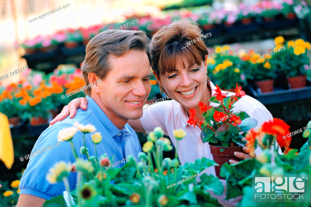 Stock Photo: couple shopping for flowers.