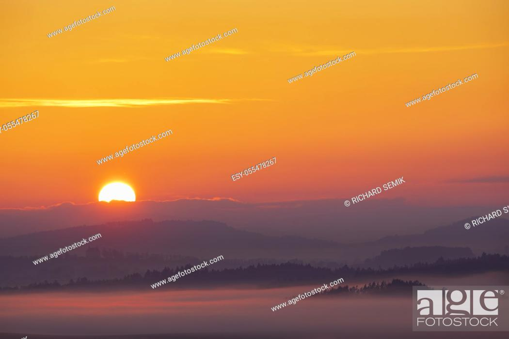 Stock Photo: Sumava sumset near Pisek, Southern Bohemia, Czech Republic.