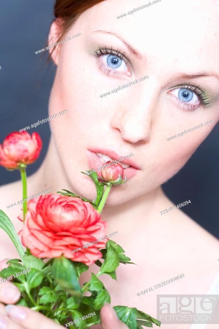 Stock Photo: beauty woman with globe flower.