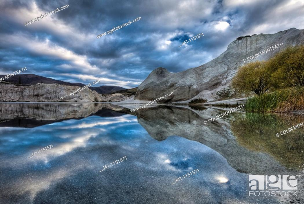 Stock Photo: Blue Lake reflection, St Bathan's, autumn dawn, Central Otago, New Zealand.