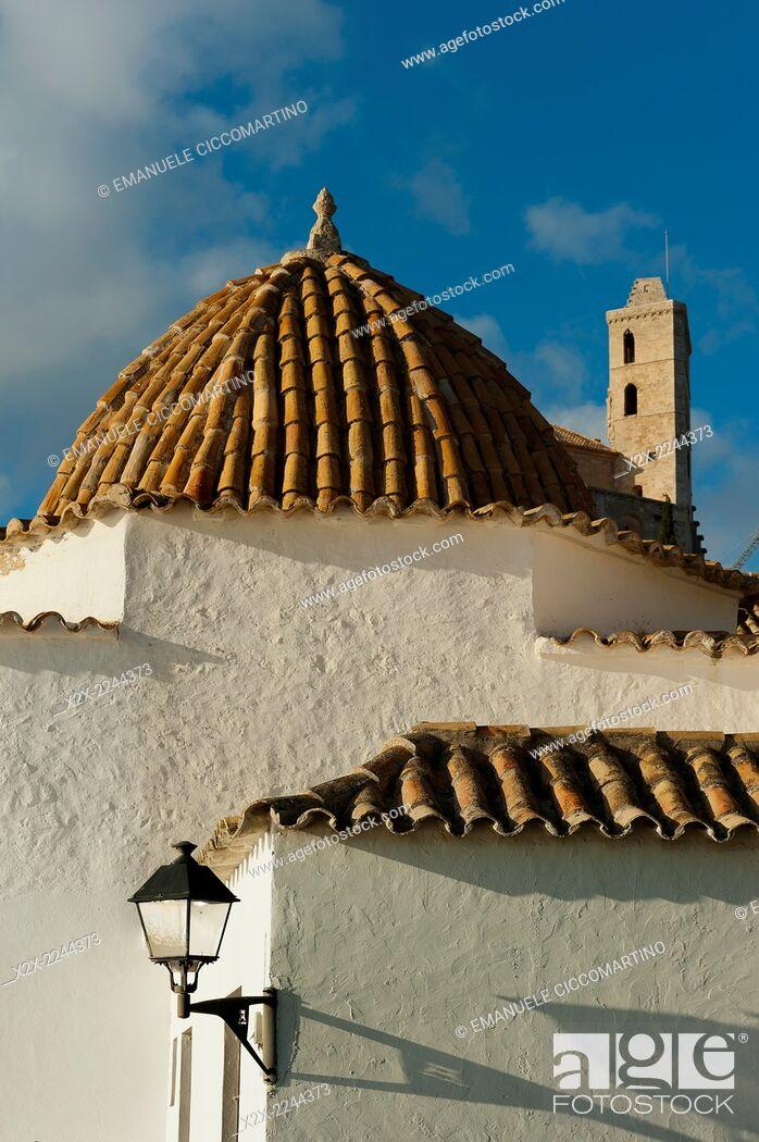 Stock Photo: Ibiza Cathedral, Santo Domingo Convent, Old Town, Dalt Vila, Eivissa, Ibiza, Balearic Islands, Spain, Mediterranean, Europe.