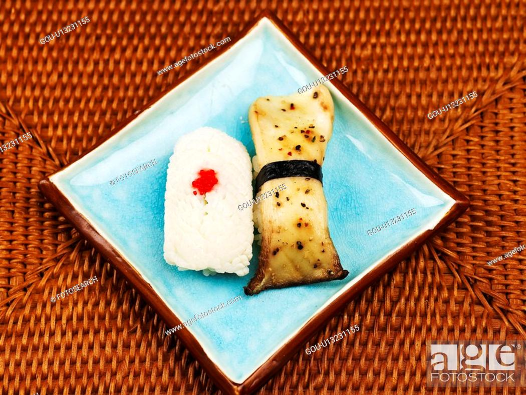 Stock Photo: mushroom, plate, cuttle fish, decoration, food styling, food, sushi plate.