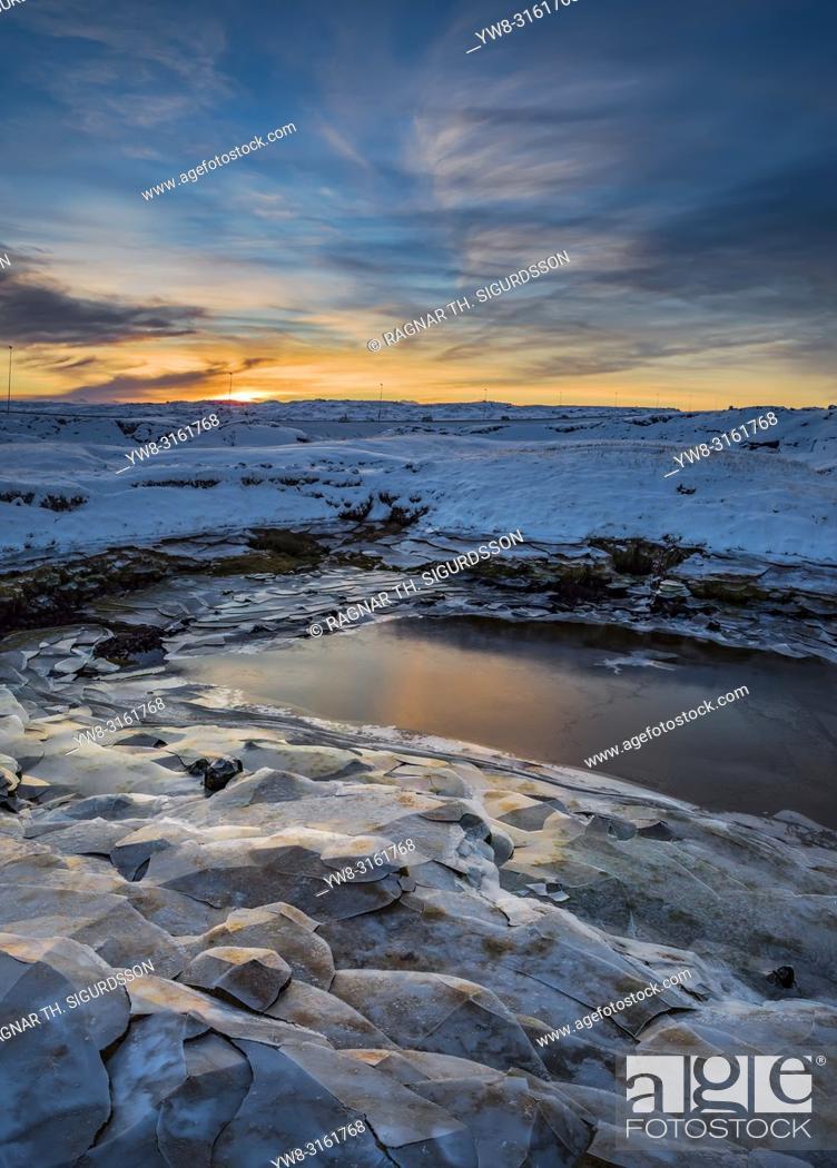 Stock Photo: Sunset over frozen landscape, Iceland.